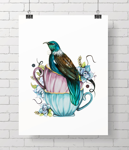 teacup Tui on A3 - just one at this price