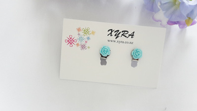 Teal Mini Rose Clip-on Earrings