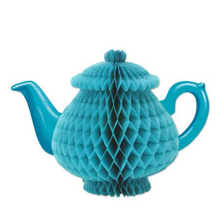 Teapot honeycomb blue tissue