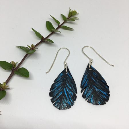 Tear Drop Earrings with Blue Fleck & Sterling Silver Hooks
