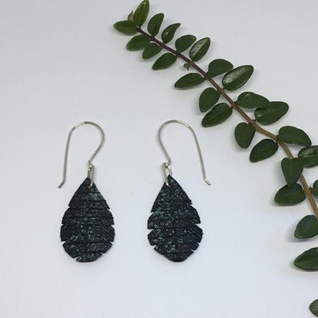 Tear Drop Earrings with Green