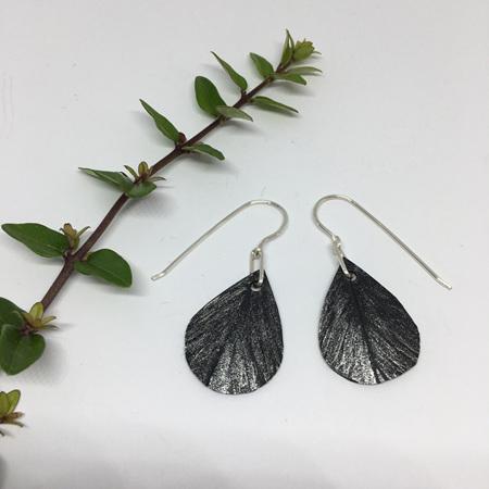 Tear Drop Earrings with Silver Fleck & Sterling Silver Hooks