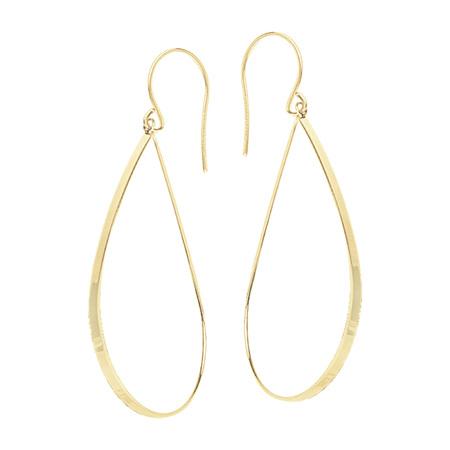 Teardrop Gold Hook Earrings