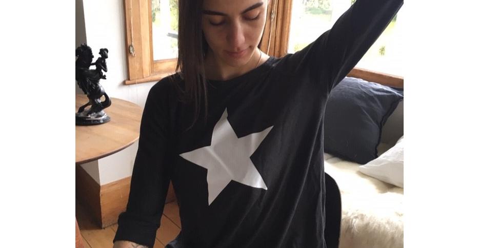 Kim Christina Black Bamboo & Linen Star Tee
