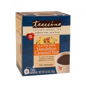 Teeccino 75% Organic Herbal Coffee Dandelion Caramel Nut 10pk