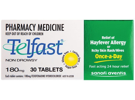 Telfast Fexofenadine 180mg Tablets 30