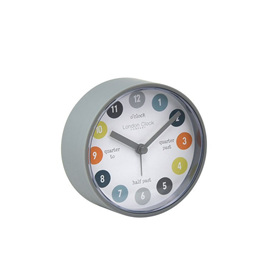 Tell Me The Time Grey Silent Alarm Clock 8cm