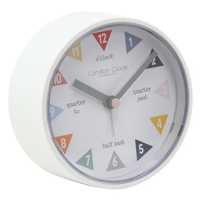 Tell Me The Time White Silent Alarm Clock 8cm