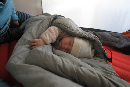tent sleeping baby hiking tramping