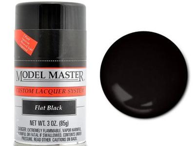 Testors Model Master Automotive Lacquer Flat Black Spray