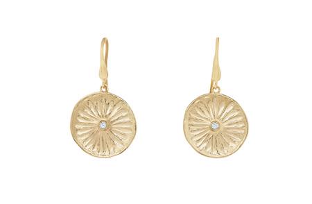 Textured Flower Diamond Disc Gold Earrings