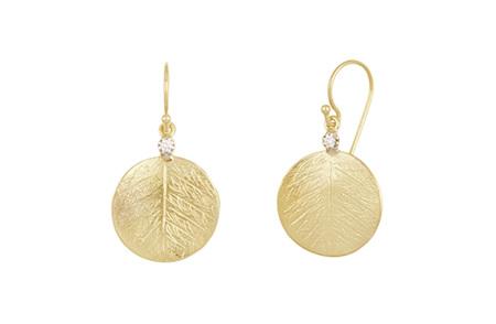 Textured Leaf and Diamond Drop Earrings
