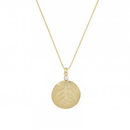 Textured Leaf and Diamond Pendant