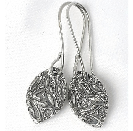 Textured Sterling Silver Earrings - Navette