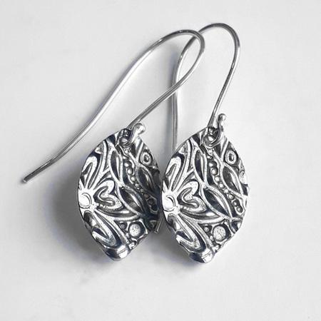 Textured Sterling Silver Earrings - Navette