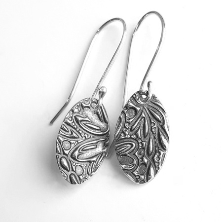 Textured Sterling Silver Earrings - Oval