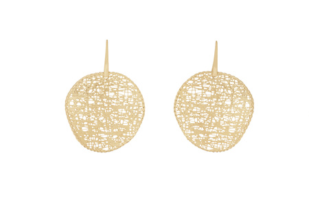Textured Yellow Gold Circle Earrings