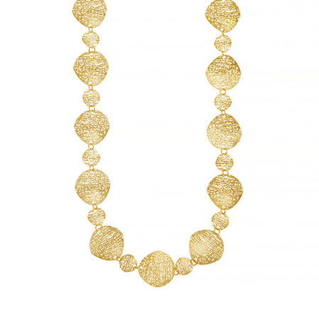 Textured Yellow Gold Circles Necklace