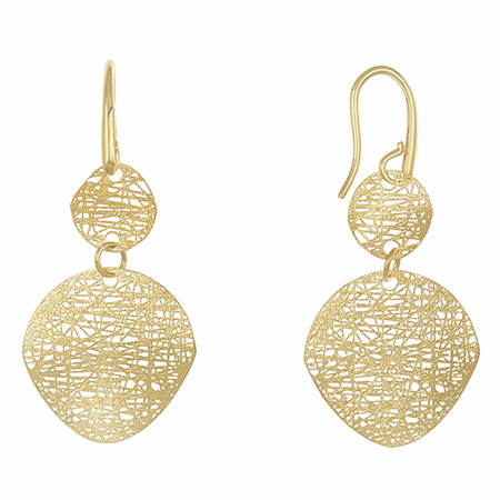 Textured Yellow Gold Double Circle Earrings