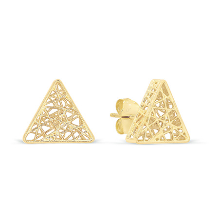 Textured Yellow Gold Prism Stud Earrings