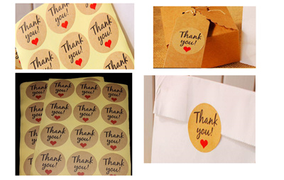 Thank You Stickers - brown kraft (pack of 36)
