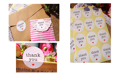 Thank You Stickers with hearts - white