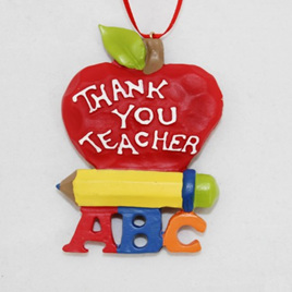 Thank You Teacher Apple  Xmas Ornament