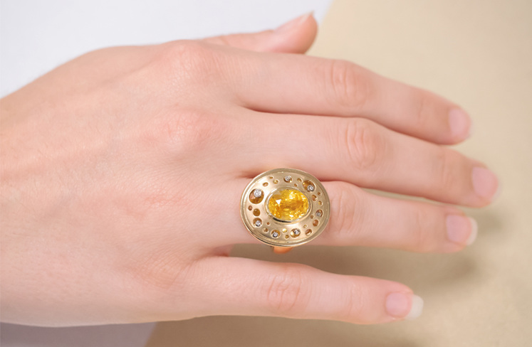 The 5ct Yellow Sapphire Ring On Hand