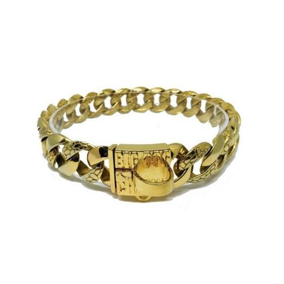 The Balboa Luxury Gold Dog Collar by Big Dog Chains