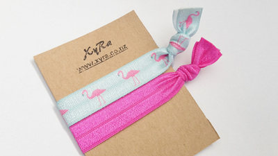 The Flamingo Pack of Hair Ties (pack of 2 ties)