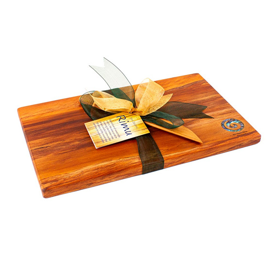 the great nz cheese board and knife set - paua koru - heart rimu