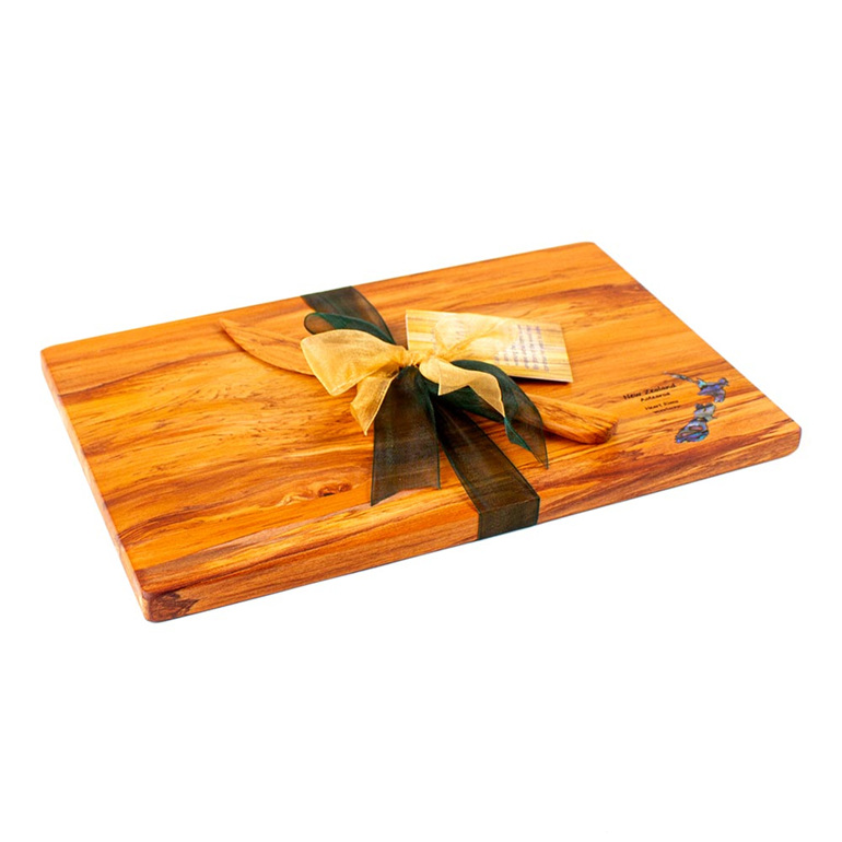 the great nz cheese board and knife set - paua map - heart rimu