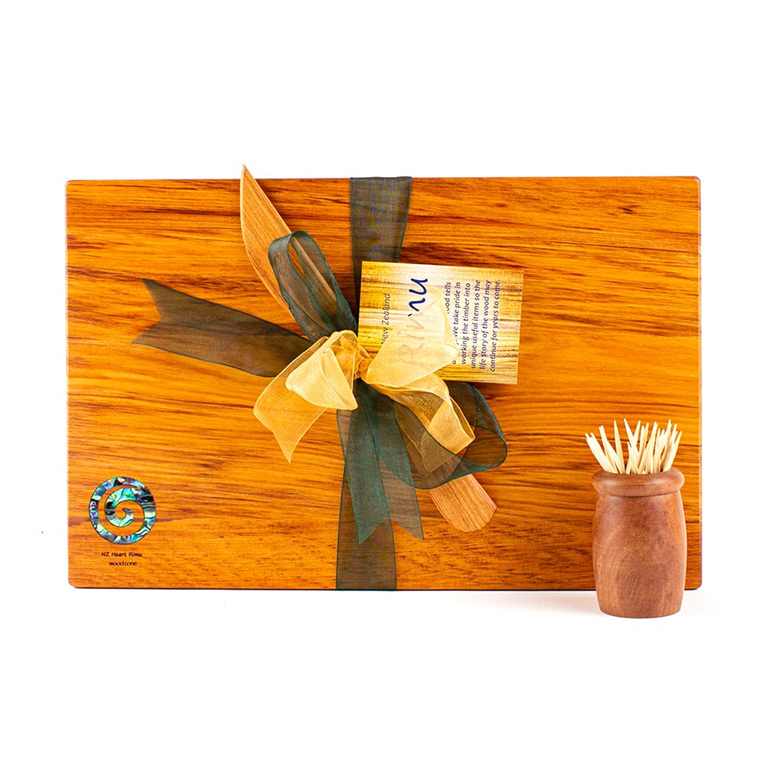 the great nz cheese board and knife set with paua koru - heart rimu