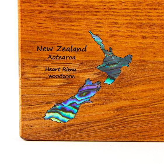 the great nz cheese board and knife set with paua nz map - heart rimu