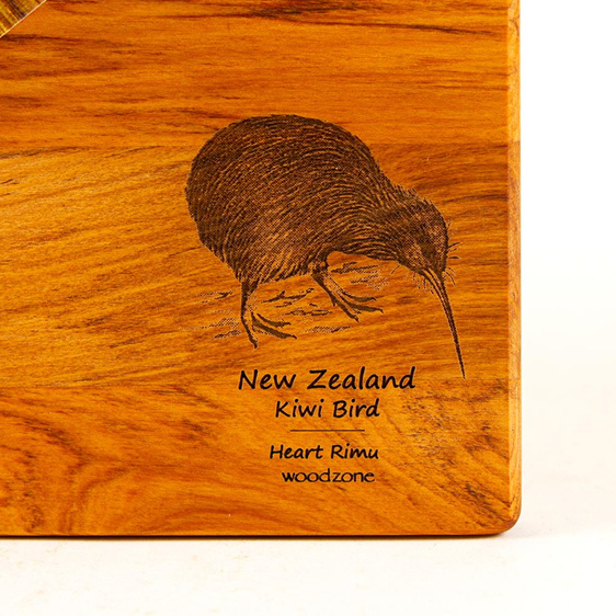the great nz cheese board with engraved kiwi bird - heart rimu - detail