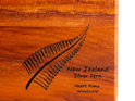 the great nz cheese board with engraved nz silver fern - heart rimu - detail
