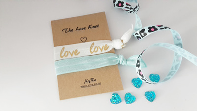 The Love Knot (white and baby blue)