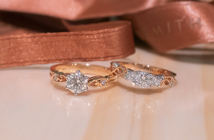 The Narrative Collection rings: Furl & Traces Three Stone (Rose Gold)