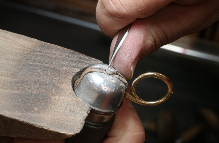 The Pendula Ring Being Crafted in Our Workshop