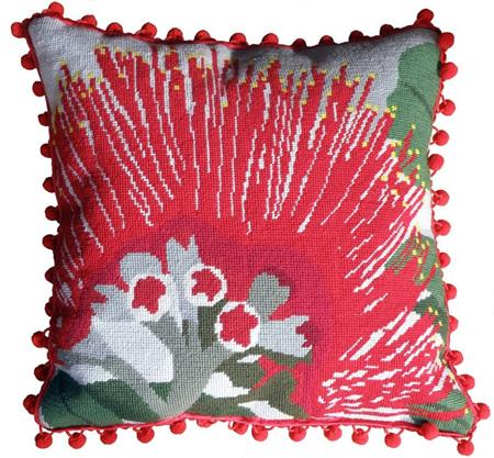 The Stitchsmith Pohutukawa flower needlepoint kit