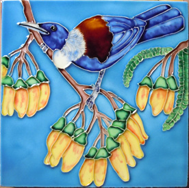 The Tui on Kowhai is painted by Helga Grant from Wellington.