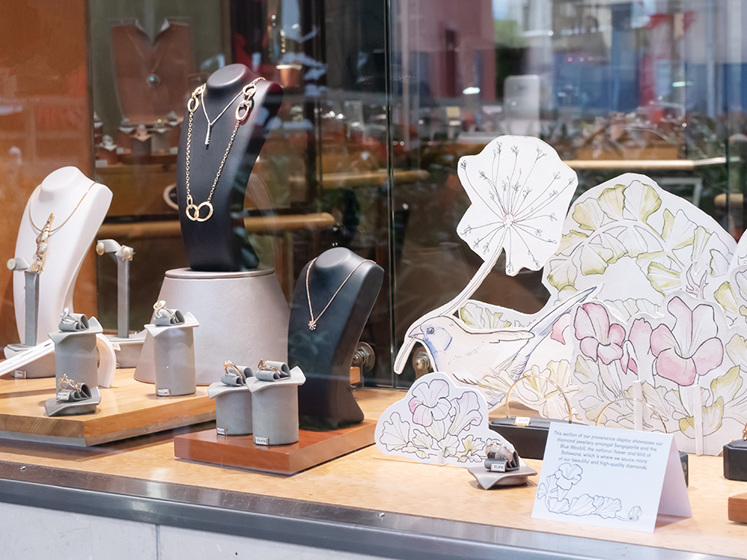 The Village Goldsmith Gemstone and Diamond Provenance Window Display