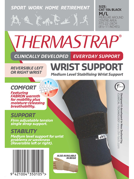 Thermastrap Wrist Supp Blk Med/Lge