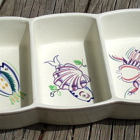 Three partition dish Poole