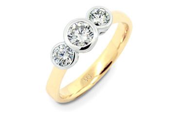 Trinity Brilliant Diamond Bezel Set Three Stone