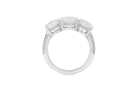 three stone detailed diamond engagement ring, platinum