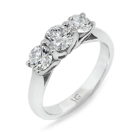Three Stone Diamond Lotus Ring