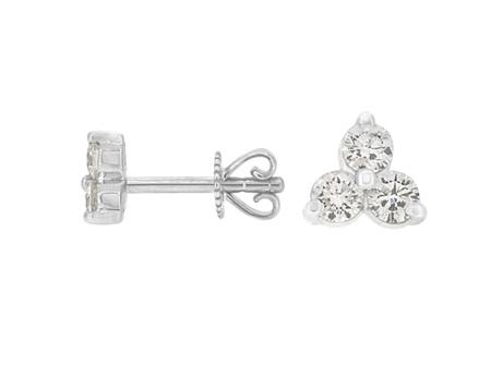 Three Stone Diamond Stud Earrings