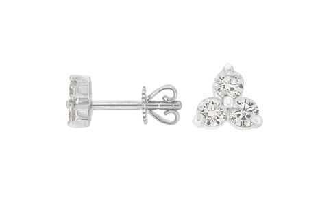 Three Stone Diamond Stud Earrings