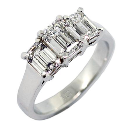 Three Stone Emerald Cut Diamond Ring